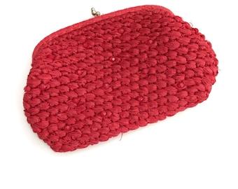 Red Straw Clutch Handbag