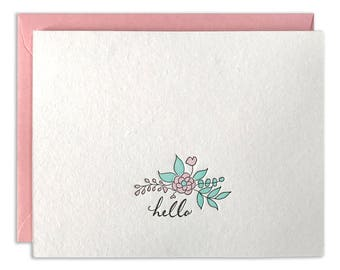 Letterpress Card Hello Flowers