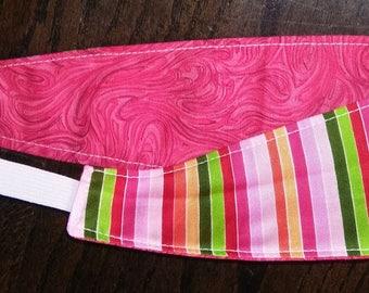 Rainbow Stripe & Red Swirl Reversible Adult/Teen Headband