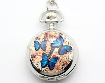 Butterfly Print Porcelain | Silvertone Pocket Watch Necklace | Chain Necklace Watch | Long Necklace Watch | Watch Locket Necklace - WA00056