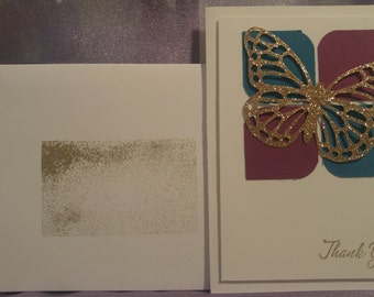 Butterfly - Gold Glitter Filigree Butterfly - Thank You Card - Stampin Up - Dk Teal/Purple - Embellished Envelope - Blank Inside - Dimension