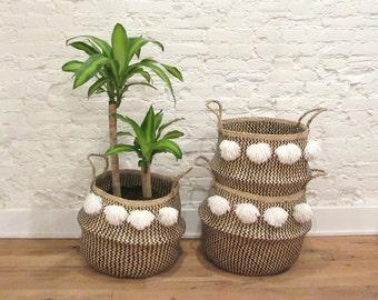 Black and White Pom Pom Rice Baskets / Belly Baskets Seagrass Storage Basket Hand Woven Vietnam Tassels Silk Pompom Asian Natural Home Decor