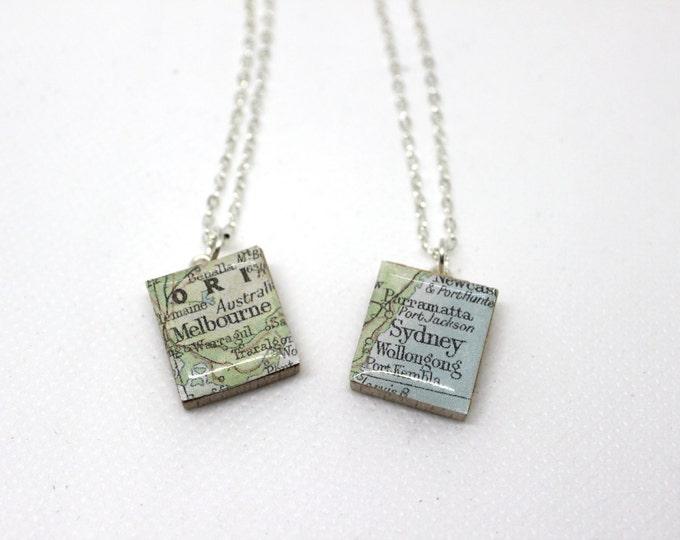 Melbourne or Sydney Scrabble Tile Necklace.