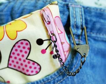 Kids mini chain wallet | stocking stuffer | gift card holder | free personalization | choice of laminated cotton fabric