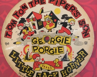 Vintage Cardboard Record 1948, Playsong Record Company, Lazy Mary, Hot Cross Buns, Tom Tom The Pipers Son, Georgie Porgie Little Jack Horner