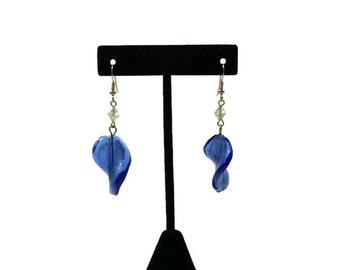 Vintage Blue Glass Dangle Earrings