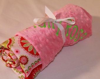 Gypsy Paisley on Pink Minky, Baby Blanket