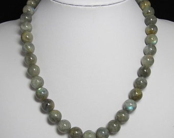 Necklace 19 inch IN Labradorite 12mm and 925 Silver
