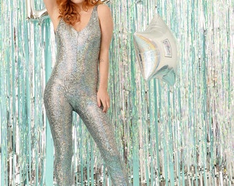 Silver Disco Mermaid Backless Catsuit