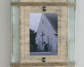 Distressed Handmade Picture Frame - Pale Green & Beige with Twine