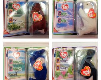 Ty McDonalds Tennie Babies / Set of 4 / New in packages / Peanut Elephant / Bronty Brontosaurus / Rex Tyrannosaur / Chilly polar bear