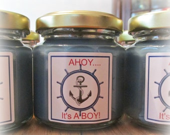 Baby Shower Favor, Nautical Themed Shower Favor, Anchor, Ahoy...It's a Boy, Soy baby shower favor