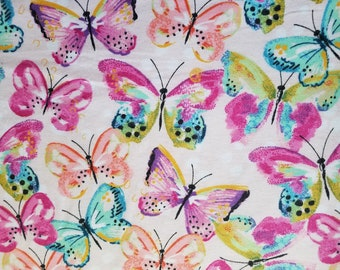 Watercolor Butterflies Flannel (1 yard 32 inches)