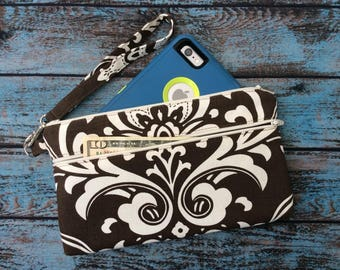 Wristlet; Damask Wristlet Wallet; Phone Wallet; Zipper Pouch; iPhone 7 Wristlet; Cell Phone Purse; Phone Case; Wallet with Strap; Clutch