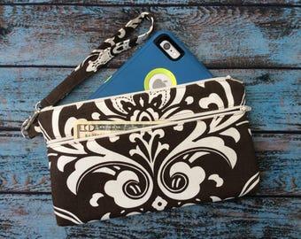 Wristlet; Damask Wristlet Wallet; Phone Wallet; Zipper Pouch; iPhone 7 Wristlet; Cell Phone Purse; Phone Case; Wallet with Strap; Clutch
