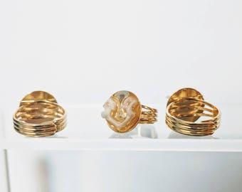 Animal Bone Ring - Gold Adjustable Ring - Vertebrae - Real Animal Bones - Weird Jewelry - Taxidermy - Oddities