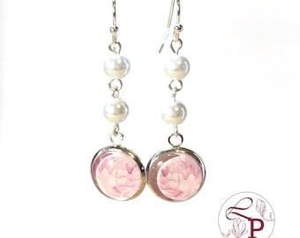 Pearl drop earrings | Flower earrings | Pearl earrings | Flower jewelry | Bridal earrings | Beaded earrings | Bridal jewelry |Peony earrings