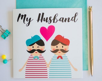 My husband gay marriage greeting card