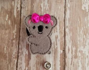 Koala Badge Reel, Koala Badge Holder, Koala Badge, Retractable Badge Holder, Nurse Badge Reel, Felt Badge Reel, Nurse Gift, Id Holder