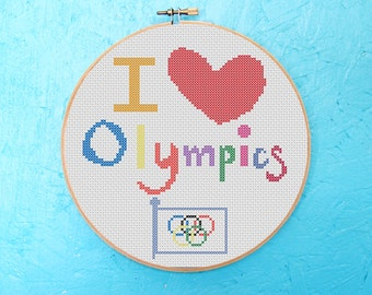 Counted Cross Stitch Embroidery Pattern Design PDF - Olympic Games, Olympics, Winter Olympics