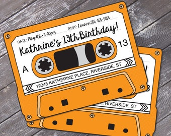 Cassette Tape Invitations - Retro Party, 80s Party Invitation,Mixtape Invite,Orange | Editable Text - Instant Download DIY Printable PDF Kit