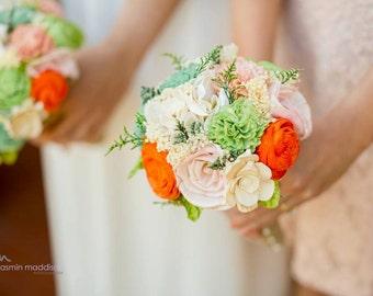 Romantic Wedding Bouquet -Custom Colors Natural Bridal Bouquet, Keepsake Alternative Bouquet, Sola Bouquet, Shabby Chic Rustic Wedding