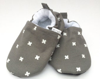 Gray Cross Baby Shoes, Baby Boy Shoes, Soft Soled Baby Shoes, Baby Booties, Baby Moccasins, Crib Shoes, Toddler Slippers, Baby Slippers