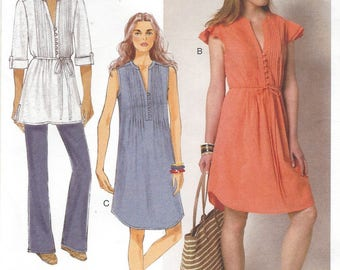 Womens Tucked Front Hippie Dress or Tunic and Belt Pullover Butterick Sewing Pattern B6208 Size 6 8 10 12 14 Bust 30 1/2 to 36 UnCut