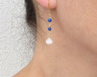 Lapis lazuli earrings, Moonstone drop earrings, June birthstone earrings