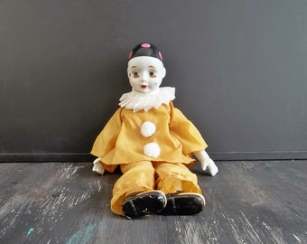 Vintage Harlequin Gift - Collectible Pierrot Doll - Crying Clown - French Pantomime