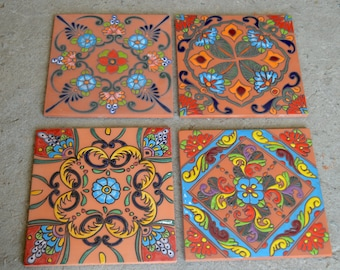 """4~MEXICAN TALAVERA POTTERY 12"""" High Relief hand painted floor stair tile"""