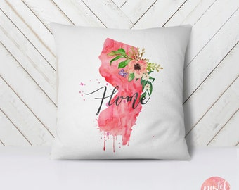 US State New Jersey Map Outline Floral Design - Throw Pillow Case, Pillow Cover, Home Decor - TPC1160