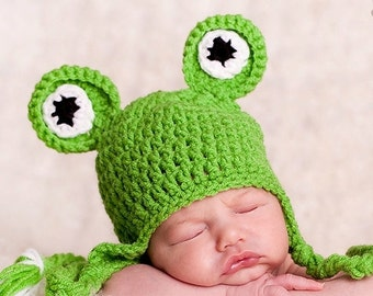 READY TO SHIP Fun Baby Boy Hat -Baby Frog Hat -  Baby Girl Hat Lime Green with Earflaps & Ties