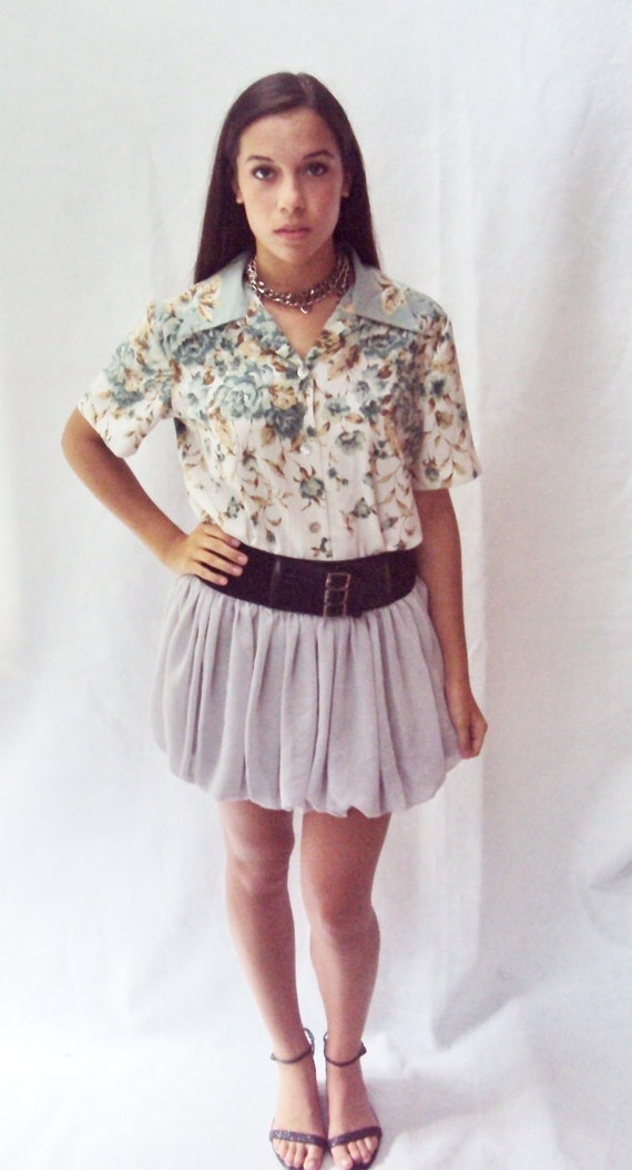 boxy shape floral shirt / pointed collar / (s, m, small, medium )
