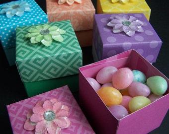 Spring Favor Boxes SET of 12 - Pastel Treat Boxes - Spring Favors - Easter Gift Boxes - Easter Treat Holders