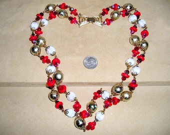 Vintage Two Strand Iridescent Red And Milk White Glass Necklace Festive 1960's Jewelry 54