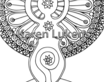 Goddess, 1 Adult Coloring Book Page, Printable Instant Download