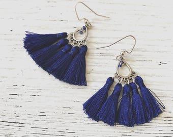 Blue Fan Earrings
