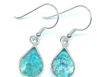 Roman Glass Small Earrings, Sterling Silver Earrings, Roman Glass Delicate Earrings, Romantic Gift, Dangle Earrings, Raindrop Earrings