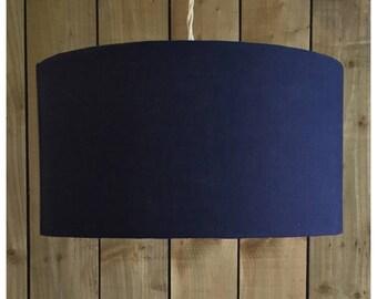 100% Navy Blue Linen Fabric Drum Lamp Shade Lightshade Various Sizes 25cm /  30cm /