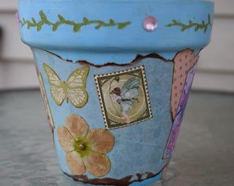 Spring Faerie Decorative Decoupage Flower Pot in Blue