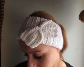 white knit headband  knit ear warmer, white winter headband, white girly headband, teen headband, earwarmer,simple headband