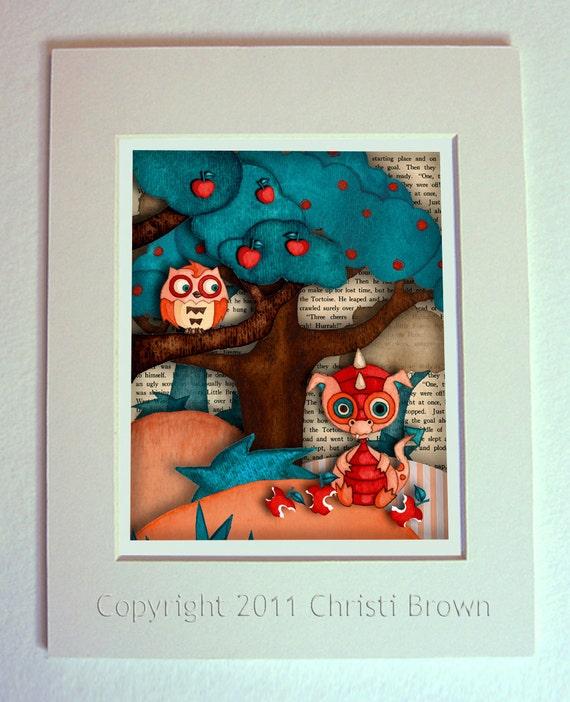 Enmarañado de Dragon infantiles bebé búho lámina decoración de