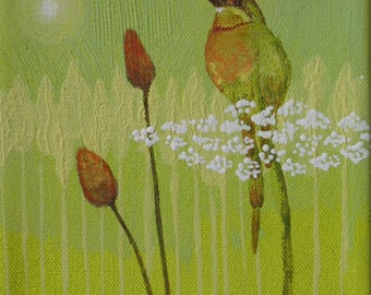 Original Bee Catcher Bird And Wild Flowers Acrylic Painting 6 by 6 on stretched Canvas