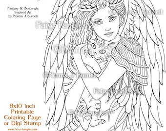 I'll Keep You Safe Fairy Tangles Printable Coloring Pages by Norma J Burnell Digital Coloring Book Sheets Fairy Cat to Color Adult Coloring