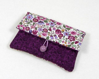 I phone sleeve , fabric cellphone case, floral i phone pouch, womens i phone sleeve, phone wallet, padded phone case