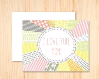 I Love You Mom Card, Thanks Mom, Happy Mother's Day, Mother's Day Card Stationery, Black Cat Card