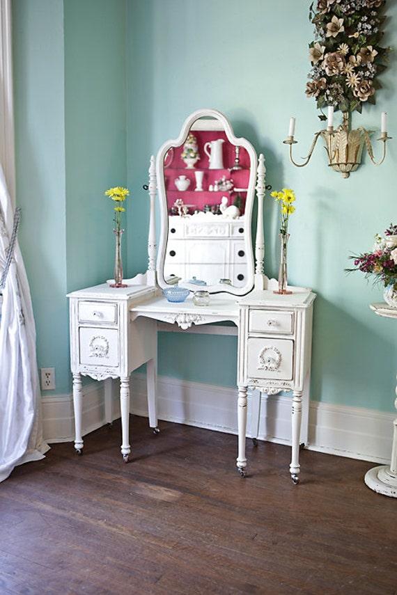 custom order antique vanity shabby chic white distressed rh etsy com shabby chic vanity target bathroom vanity shabby chic