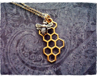 Silver Honeybee and Honeycomb Necklace - Gold Honeycomb and Sterling Silver Honeybee Charms on a 14kt Gold Filled Cable Chain or Charms Only
