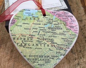 TANZANIA,  Tanganyika Christmas Ornament, Your Special Place in the Heart / HONEYMOON Gift / Wedding Map Gift / Travel Tree Ornament /